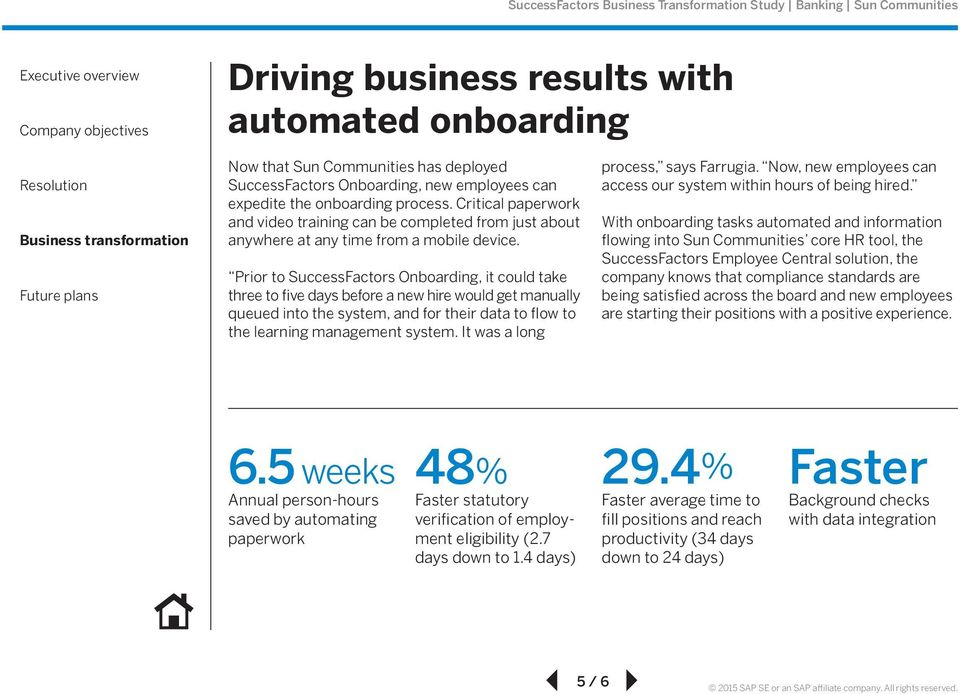 Prior to SuccessFactors Onboarding, it could take three to five days before a new hire would get manually queued into the system, and for their data to flow to the learning management system.