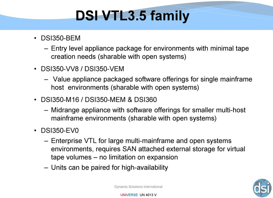 appliance packaged software offerings for single mainframe host environments (sharable with open systems) DSI350-M16 / DSI350-MEM & DSI360 Midrange appliance