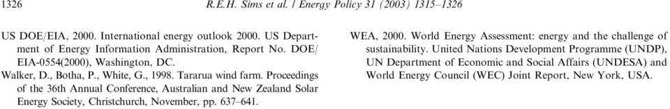 Proceedings of the 36th Annual Conference,Australian and New Zealand Solar Energy Society,Christchurch,November,pp. 637 641. WEA,2000.