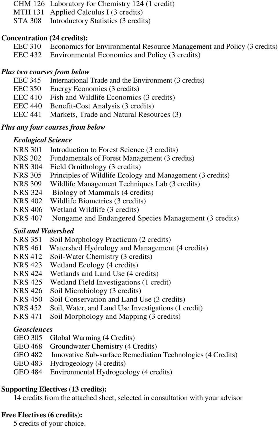 Energy Economics (3 credits) EEC 410 Fish and Wildlife Economics (3 credits) EEC 440 Benefit-Cost Analysis (3 credits) EEC 441 Markets, Trade and Natural Resources (3) Plus any four courses from