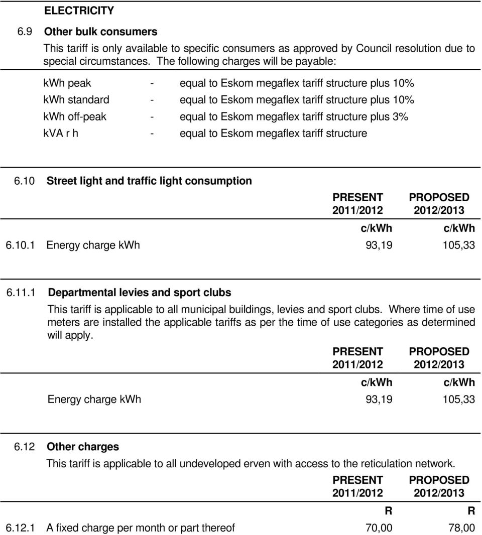 megaflex tariff structure plus 3% kva r h - equal to Eskom megaflex tariff structure 6.10 Street light and traffic light consumption PESENT POPOSED 6.10.1 Energy charge kwh 93,19 105,33 6.11.