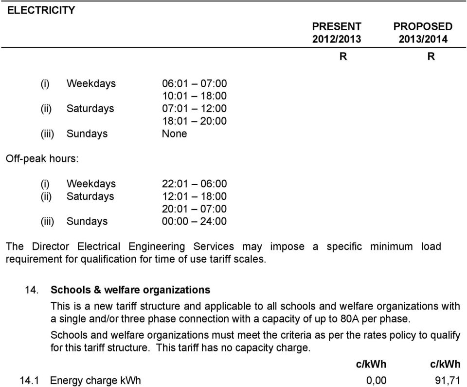 Schools & welfare organizations This is a new tariff structure and applicable to all schools and welfare organizations with a single and/or three phase connection with a capacity of up to