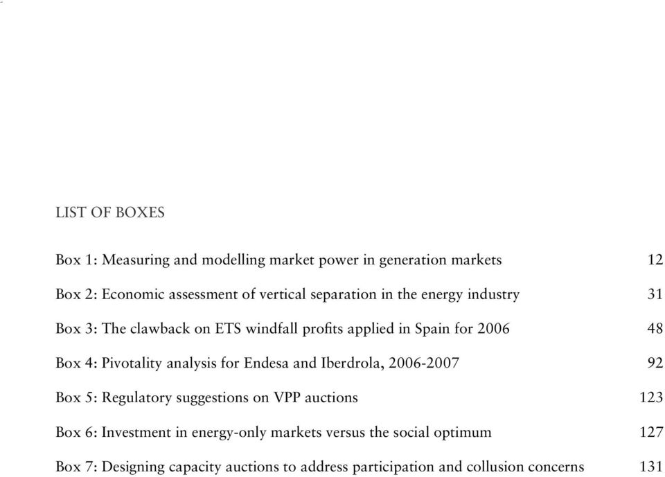 Pivotality analysis for Endesa and Iberdrola, 2006-2007 92 Box 5: Regulatory suggestions on VPP auctions 123 Box 6: Investment