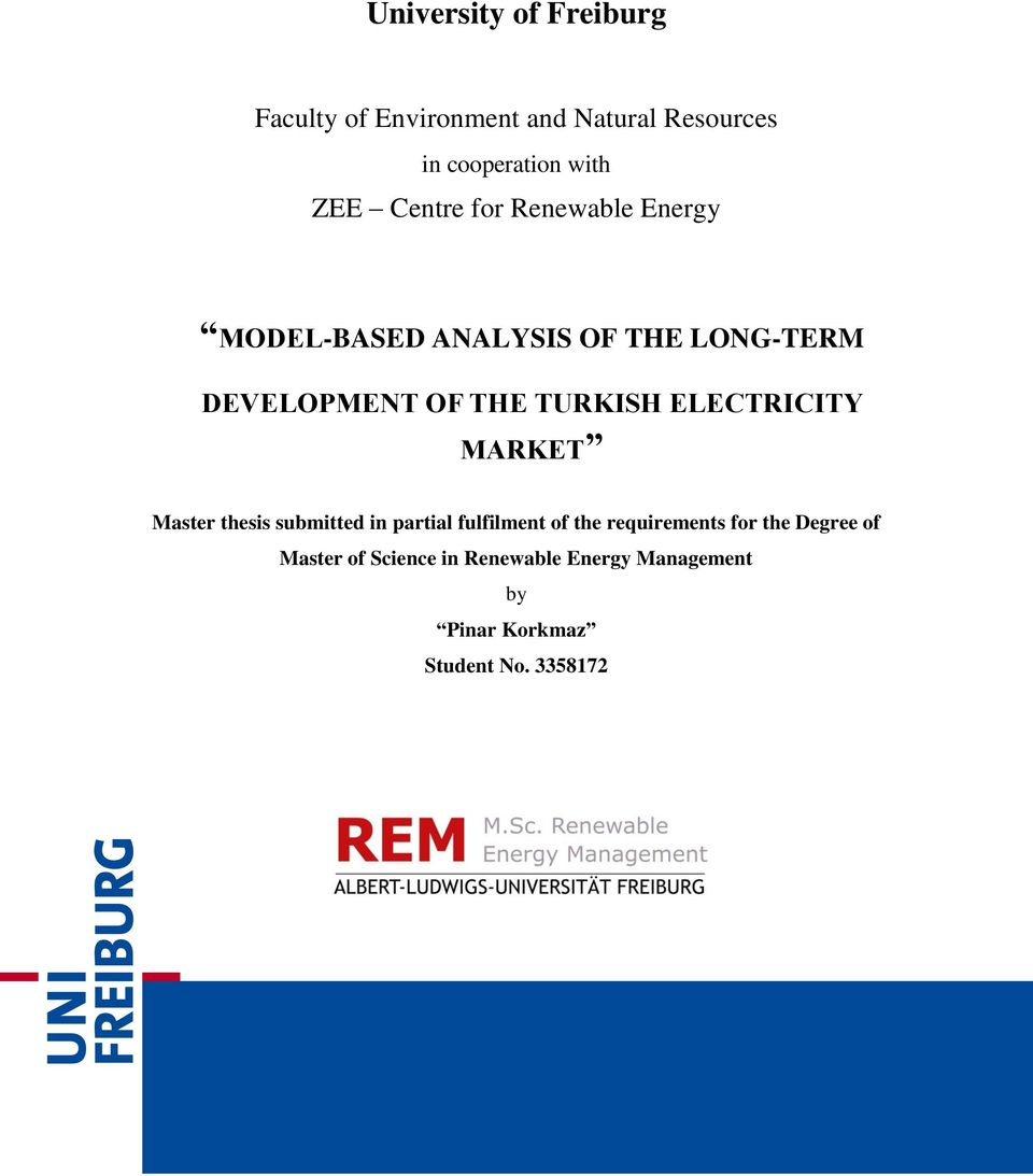 ELECTRICITY MARKET Master thesis submitted in partial fulfilment of the requirements for the