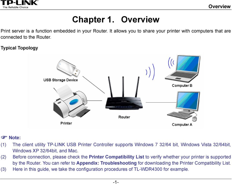Typical Topology Note: (1) The client utility TP-LINK USB Printer Controller supports Windows 7 32/64 bit, Windows Vista 32/64bit, Windows XP 32/64bit, and