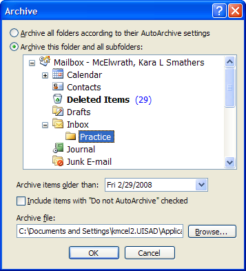 e. Select Show archive folder in folder list to have the Archive folder listed in the Navigation Pane.