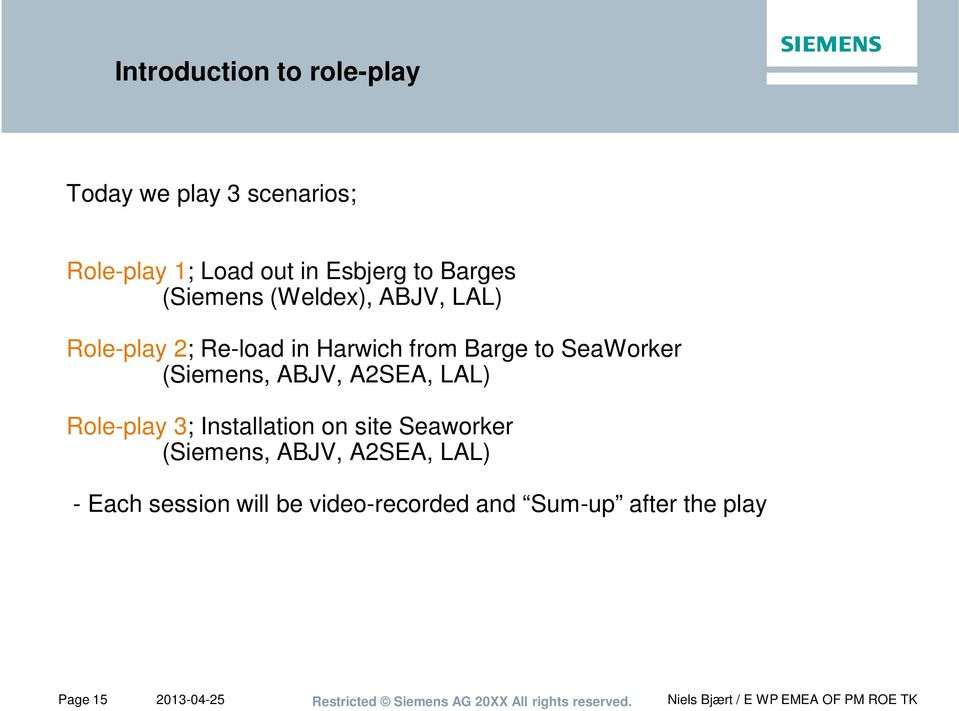 SeaWorker (Siemens, ABJV, A2SEA, LAL) Role-play 3; Installation on site Seaworker