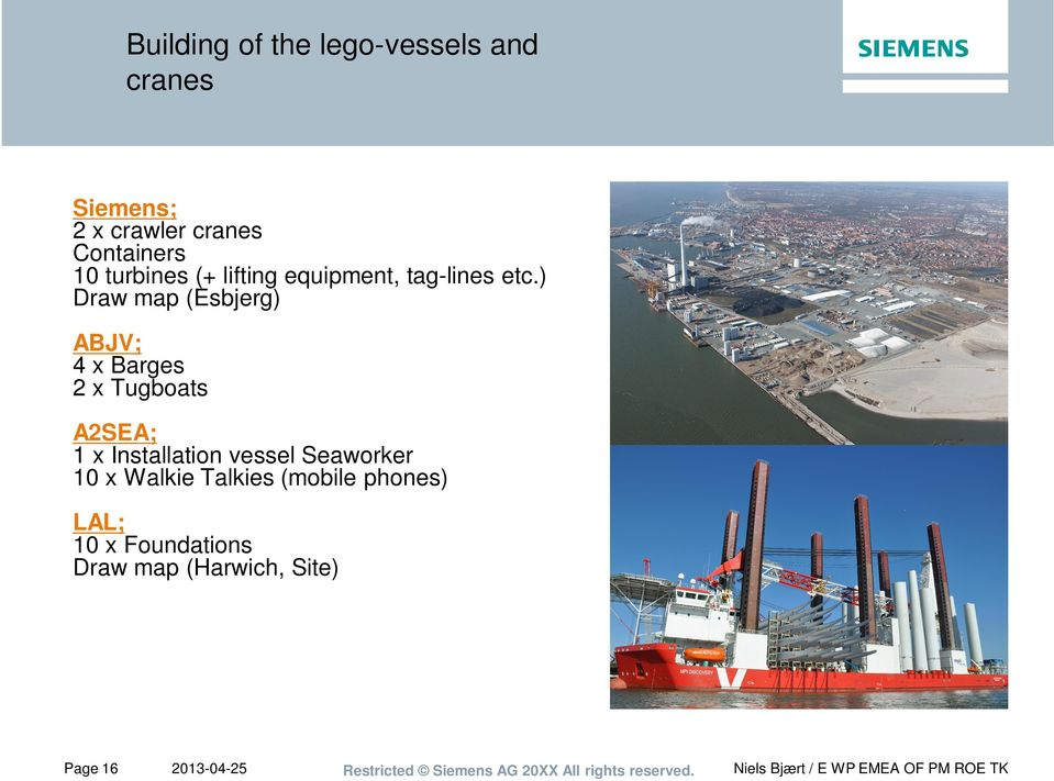 ) Draw map (Esbjerg) ABJV; 4 x Barges 2 x Tugboats A2SEA; 1 x Installation vessel Seaworker