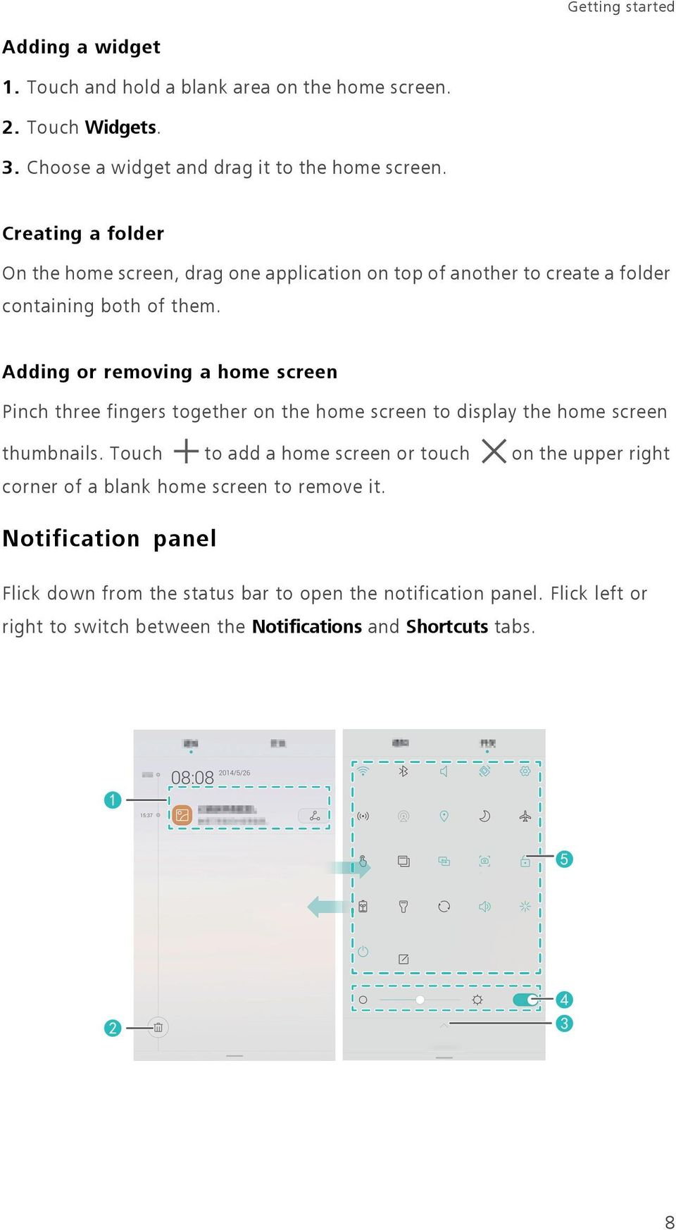 Adding or removing a home screen Pinch three fingers together on the home screen to display the home screen thumbnails.