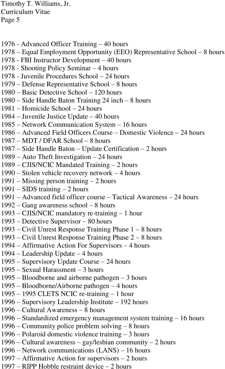 24 hours 1984 Juvenile Justice Update 40 hours 1985 Network Communication System 16 hours 1986 Advanced Field Officers Course Domestic Violence 24 hours 1987 MDT / DFAR School 8 hours 1987 Side