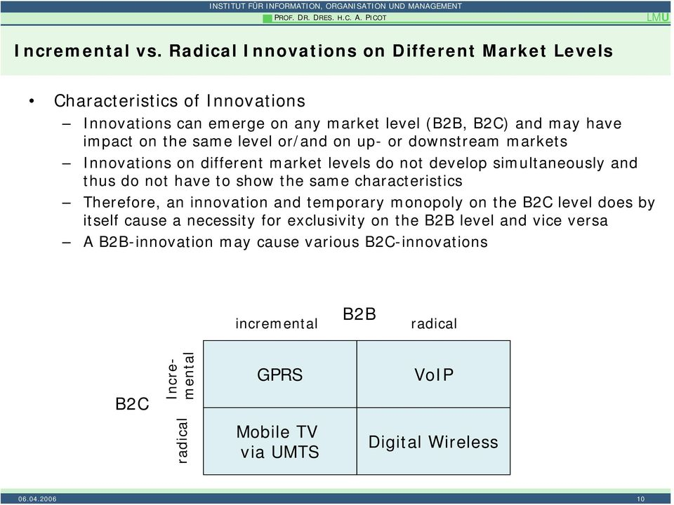same level or/and on up- or downstream markets Innovations on different market levels do not develop simultaneously and thus do not have to show the same