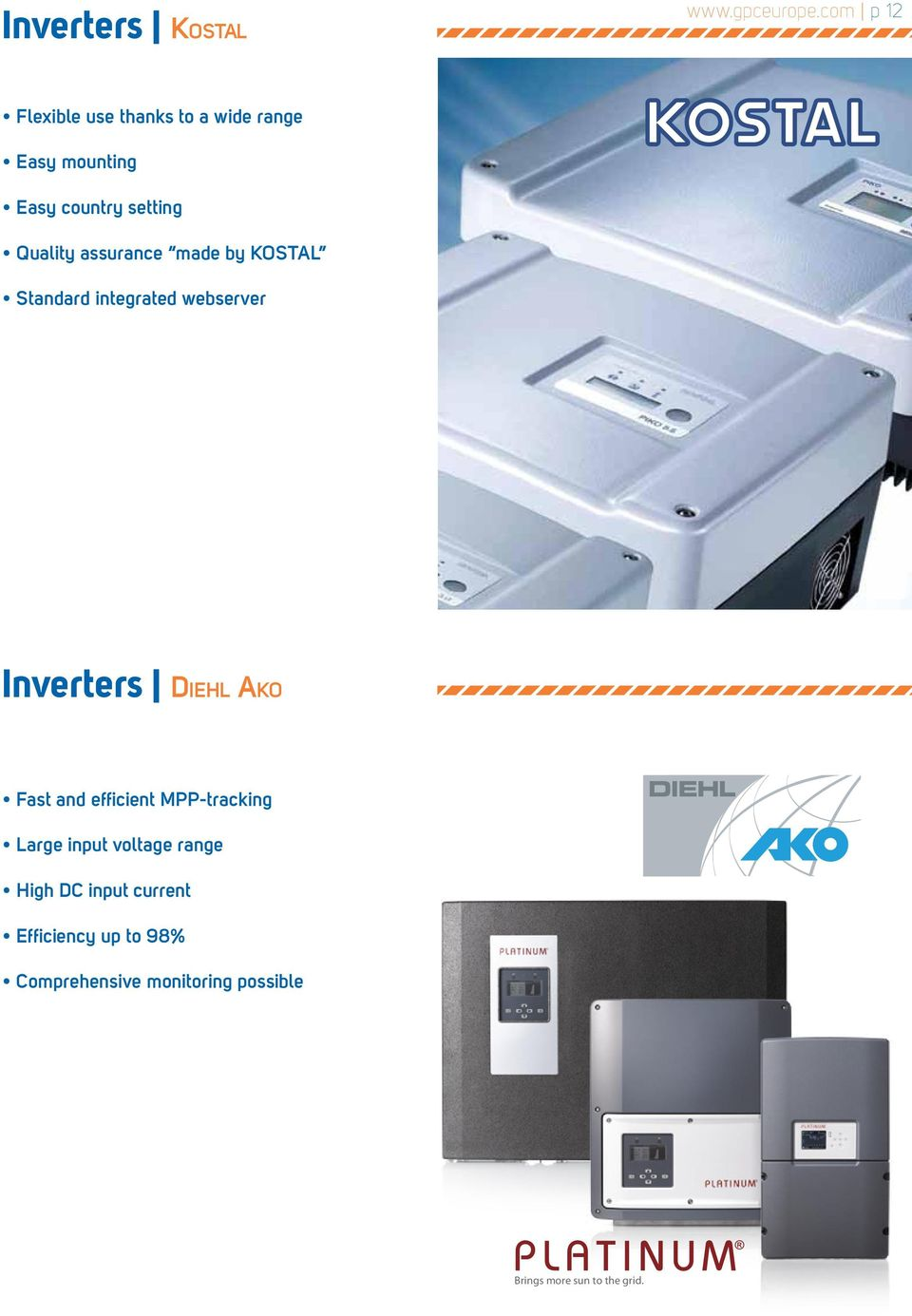 assurance made by KOSTAL Standard integrated webserver Inverters Diehl Ako Fast and