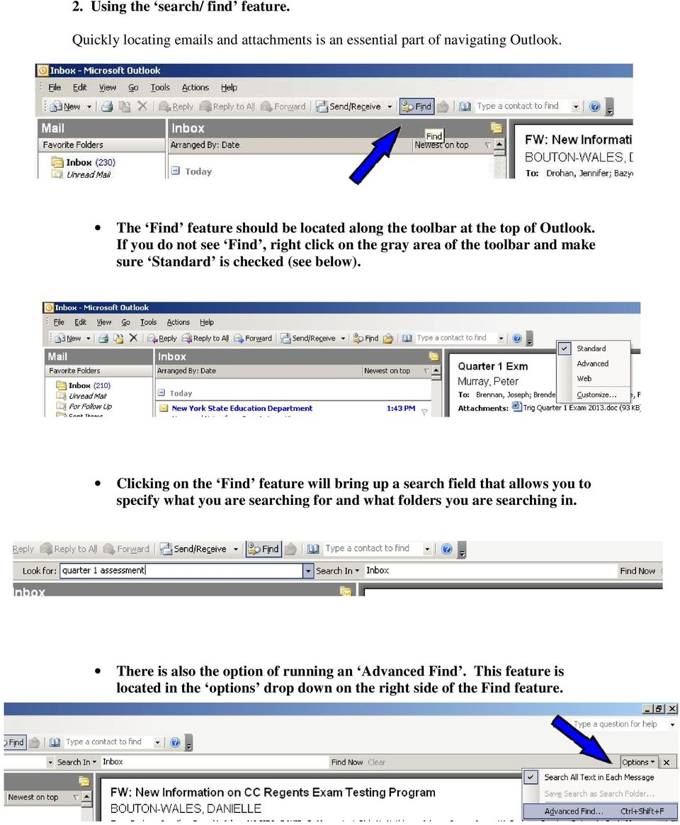 If you do not see Find, right click on the gray area of the toolbar and make sure Standard is checked (see below).