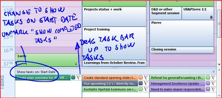 Slide 5 Show tasks at the bottom of the calendar Change to show tasks on start date.