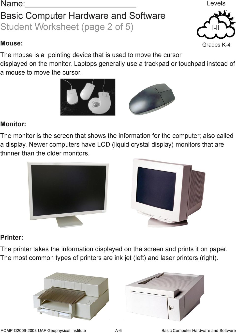 Monitor: The monitor is the screen that shows the information for the computer; also called a display.
