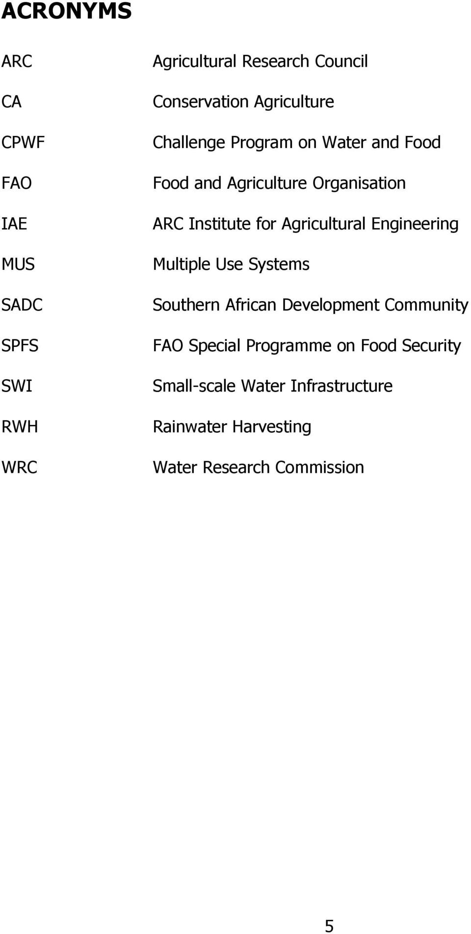 Agricultural Engineering Multiple Use Systems Southern African Development Community FAO Special