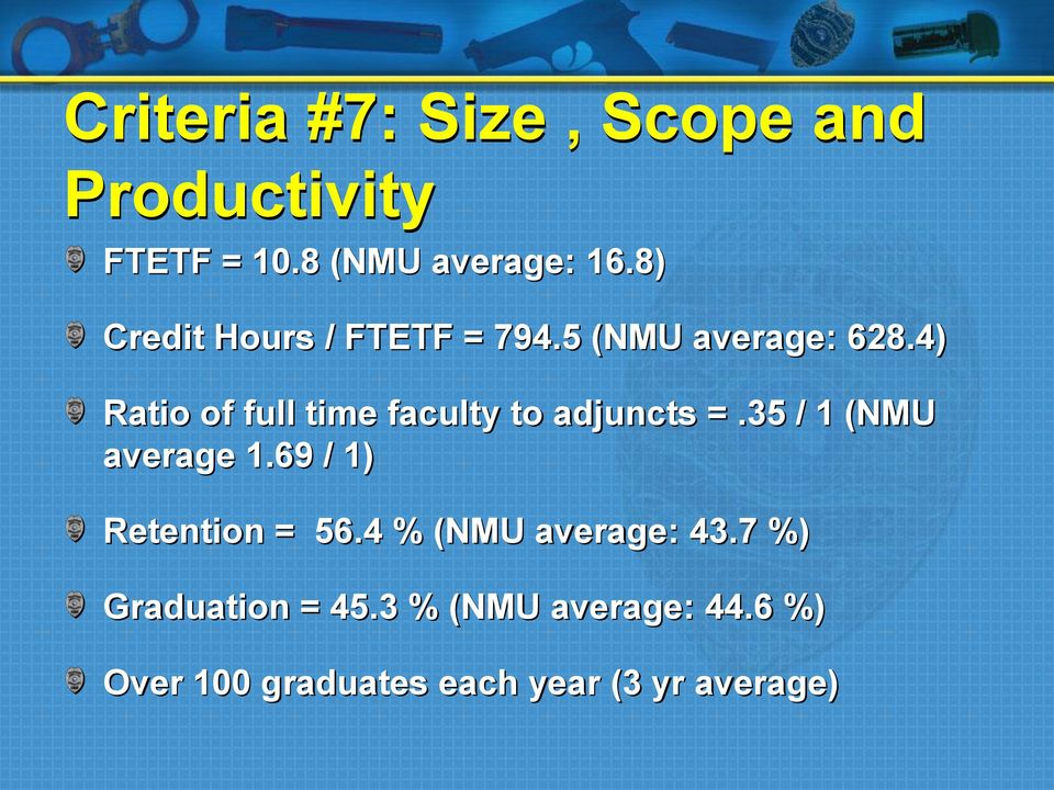 4) Ratio of full time faculty to adjuncts =.35 / 1 (NMU average 1.