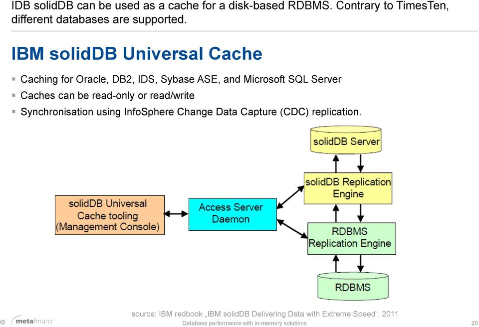 IBM soliddb Universal Cache Caching for Oracle, DB2, IDS, Sybase ASE, and Microsoft SQL Server Caches can be