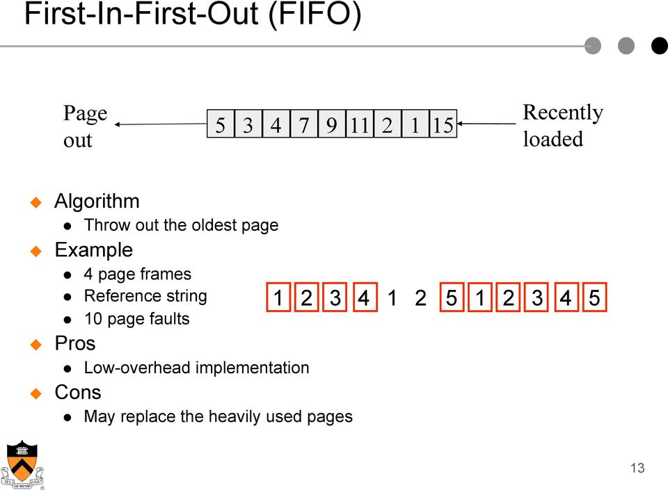 page frames Reference string 10 page faults Low-overhead