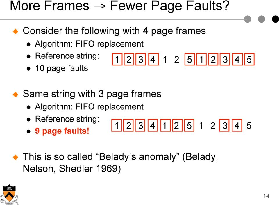 string: 1 2 3 4 1 2 5 1 2 3 4 5 10 page faults Same string with 3 page frames