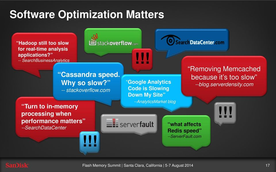 !! Turn to in-memory processing when performance matters --SearchDataCenter Cassandra speed. Why so slow?