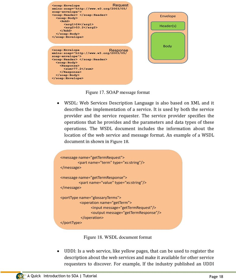The WSDL document includes the information about the location of the web service and message format. An example of a WSDL document in shown in Figure 18.
