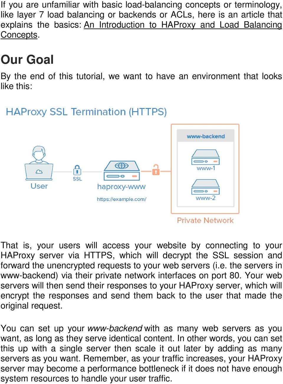 Our Goal By the end of this tutorial, we want to have an environment that looks like this: That is, your users will access your website by connecting to your HAProxy server via HTTPS, which will