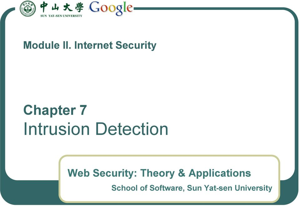 Intrusion Detection Web Security:
