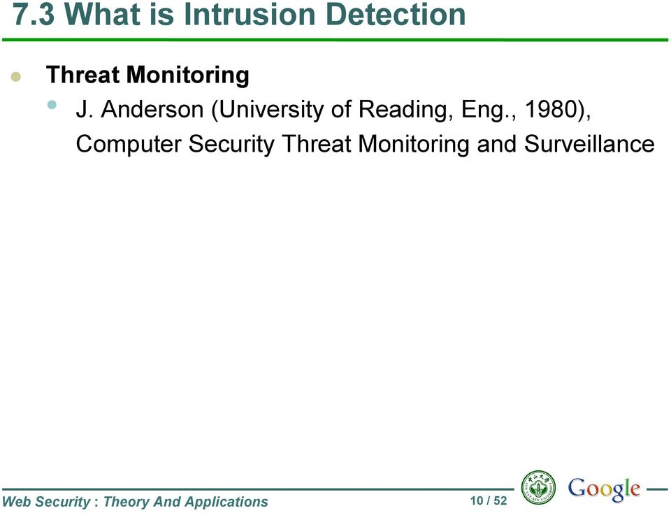 , 1980), Computer Security Threat Monitoring and