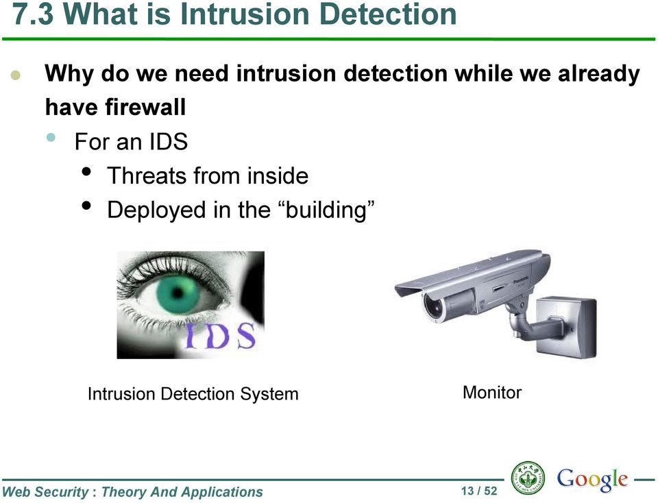 Threats from inside Deployed in the building Intrusion