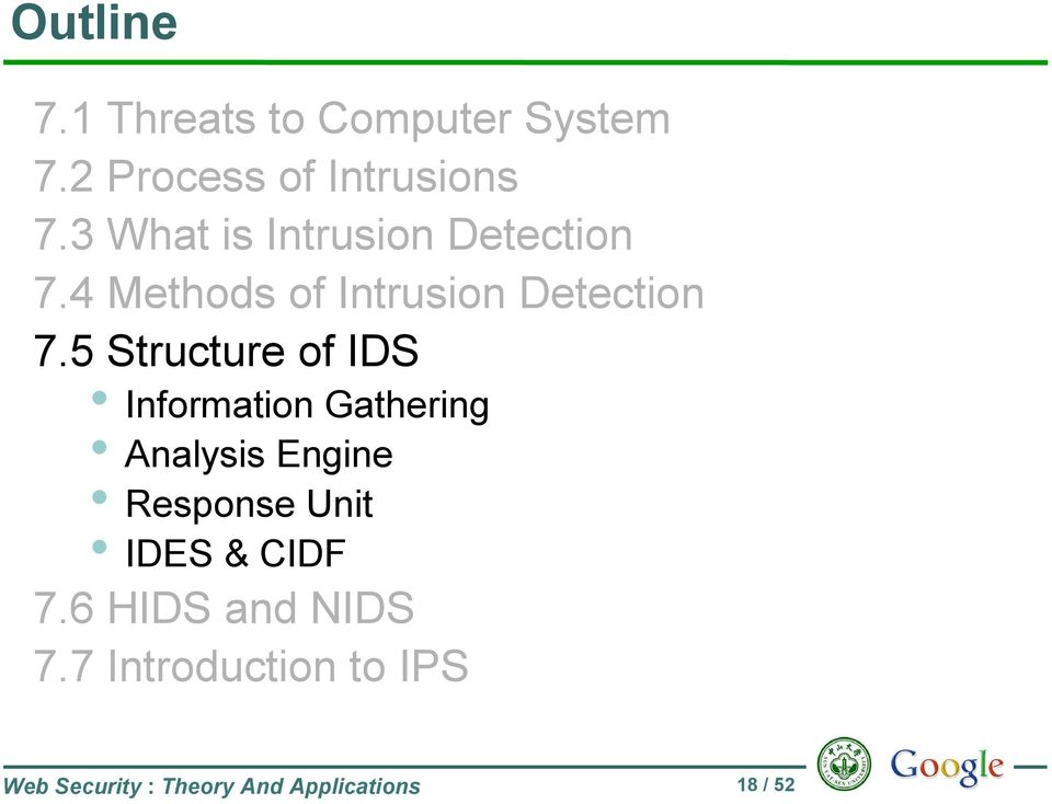 5 Structure of IDS Information Gathering Analysis Engine Response Unit IDES