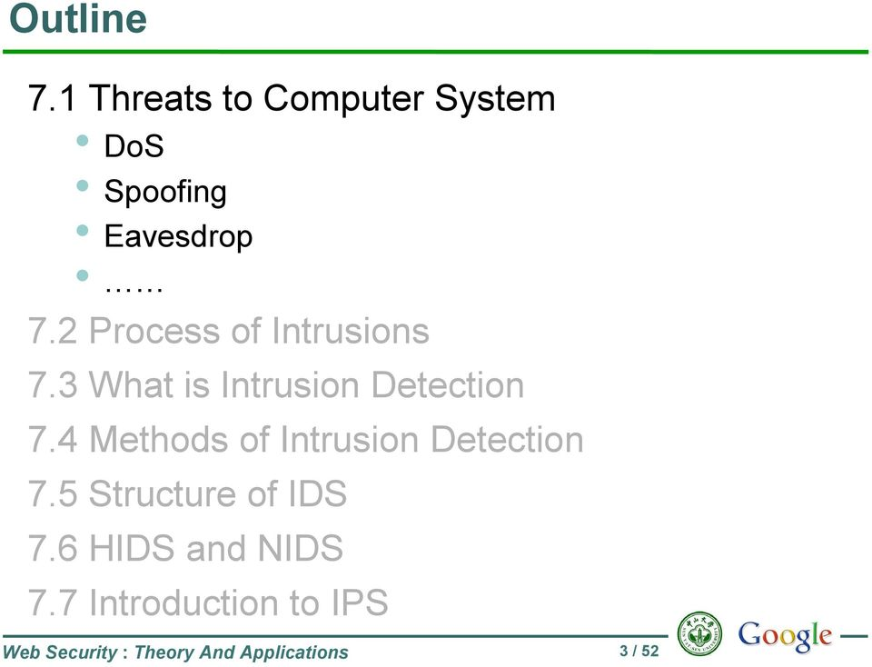 4 Methods of Intrusion Detection 7.5 Structure of IDS 7.