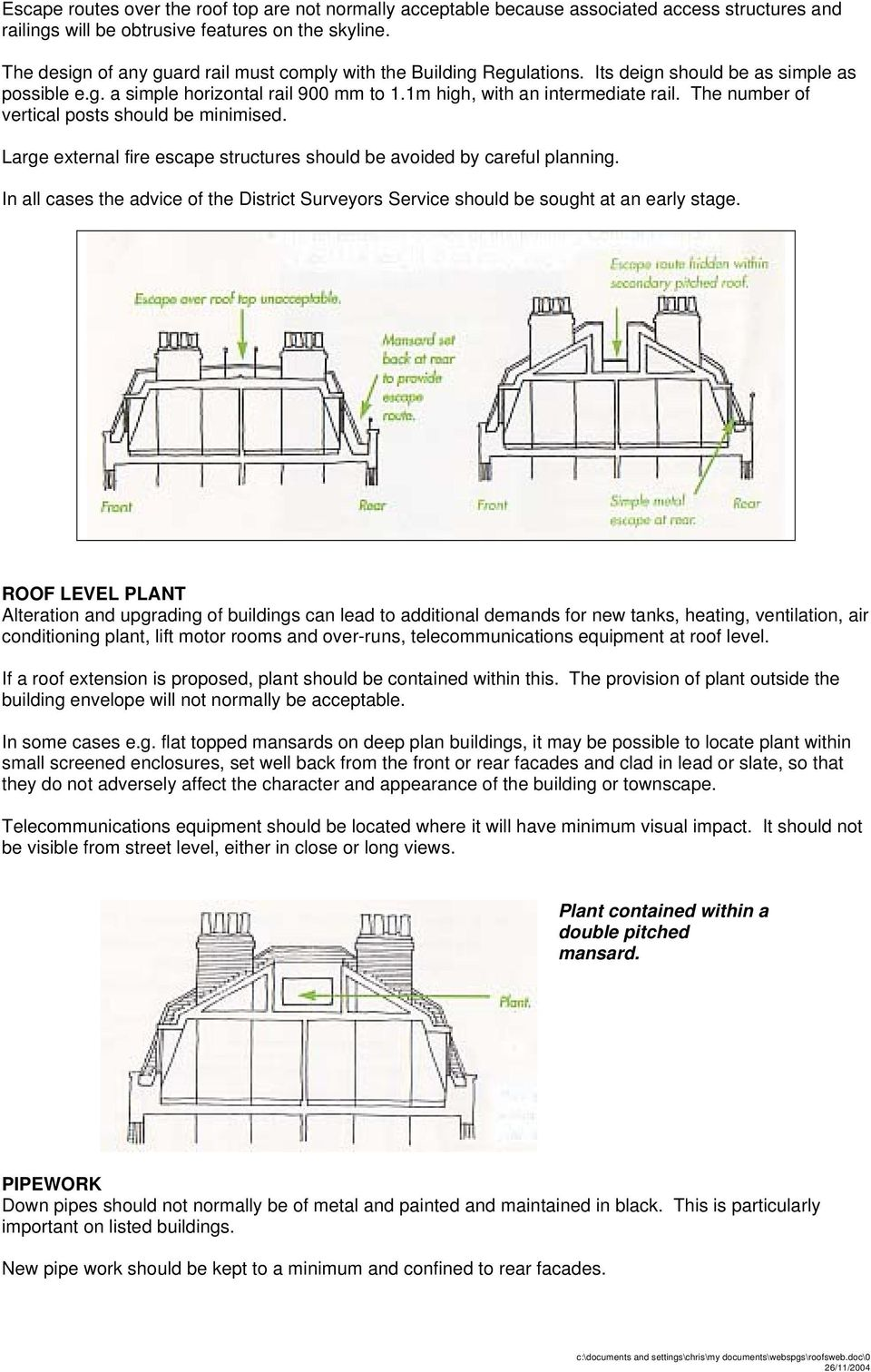 Roofs A Guide To Alterations And Extensions On Domestic Buildings Pdf Technical Structural Diagram Of Double Mansard Roof Glazing Infill The Number Vertical Posts Should Be Minimised Large External Fire Escape Structures