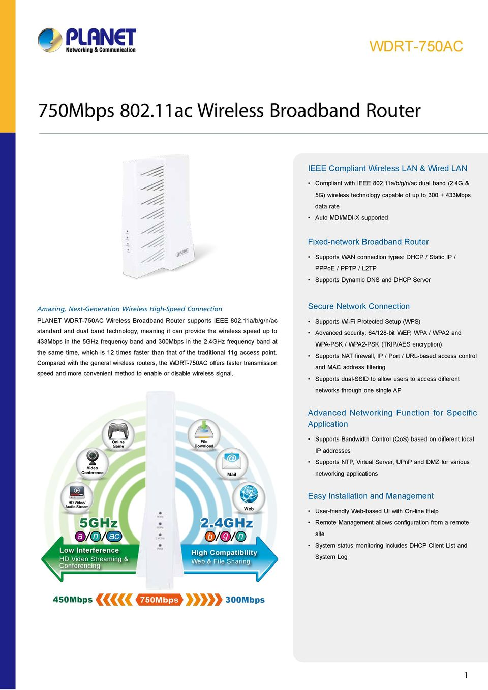 Supports Dynamic DS and DHCP Server Amazing, ext-generation Wireless High-Speed Connection PLAET Wireless Broadband Router supports IEEE 802.