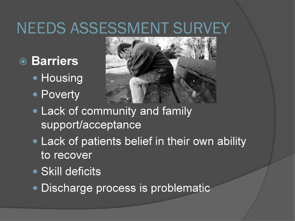 Lack of patients belief in their own ability to