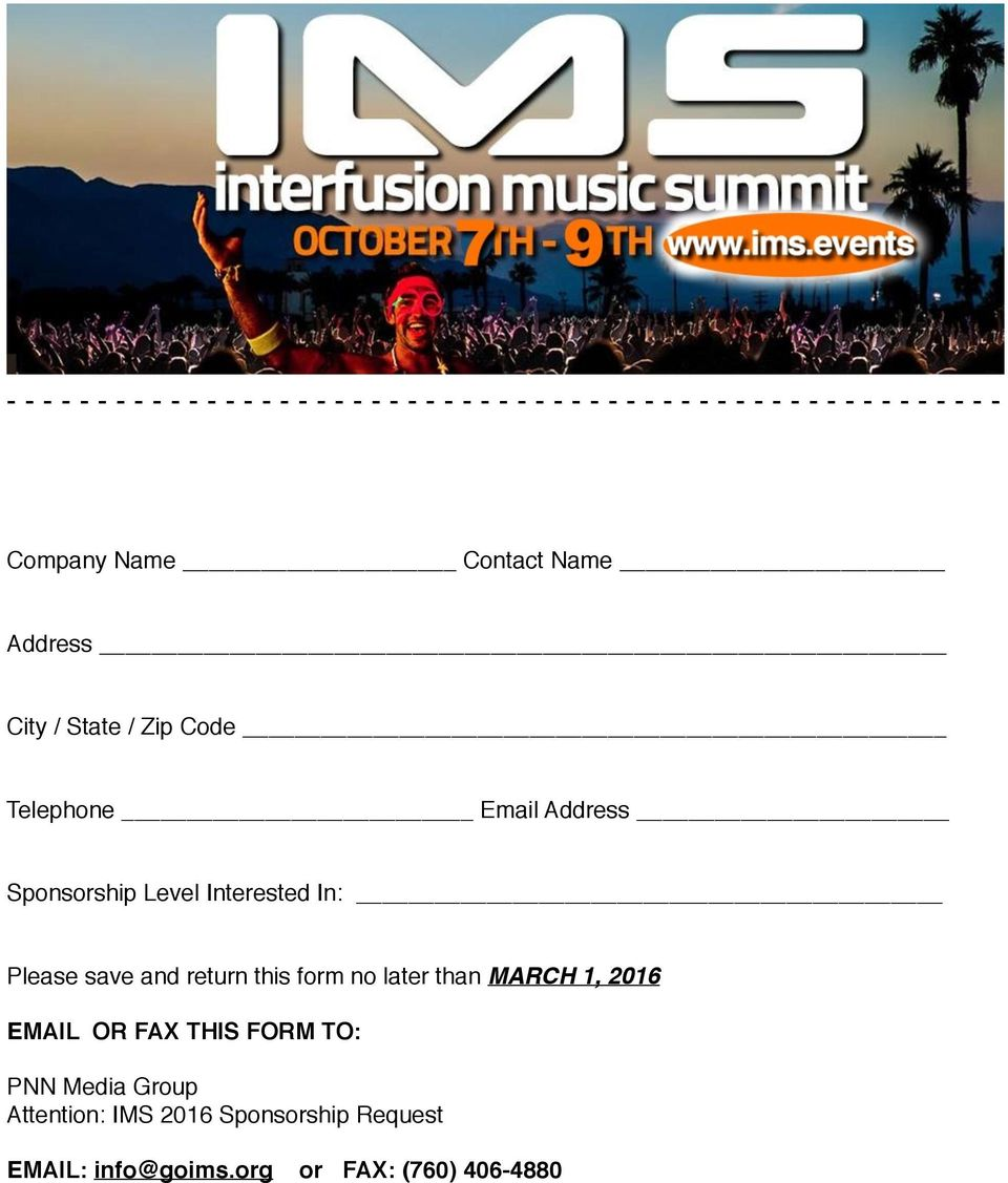 Level Interested In: Please save and return this form no later than MARCH 1, 2016 EMAIL OR FAX THIS
