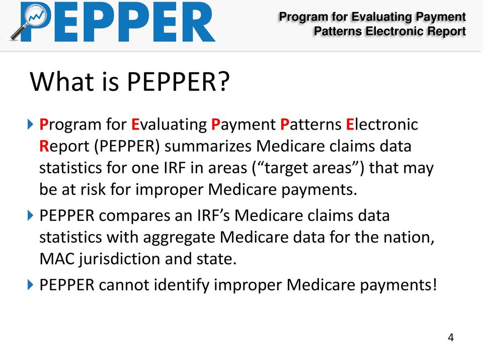 statistics for one IRF in areas ( target areas ) that may be at risk for improper Medicare payments.