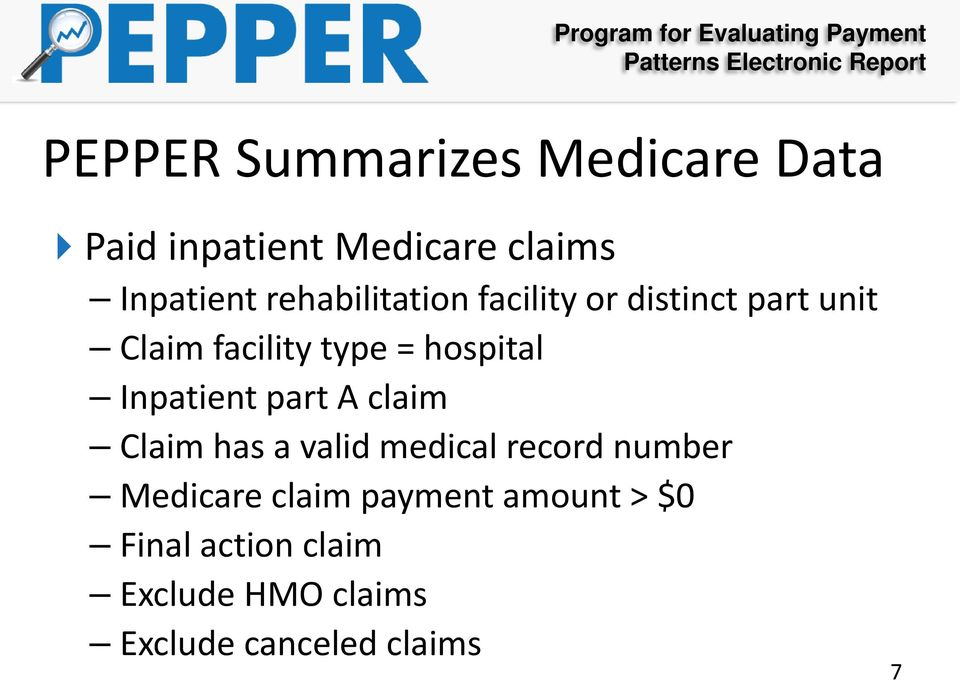 Inpatient part A claim Claim has a valid medical record number Medicare claim