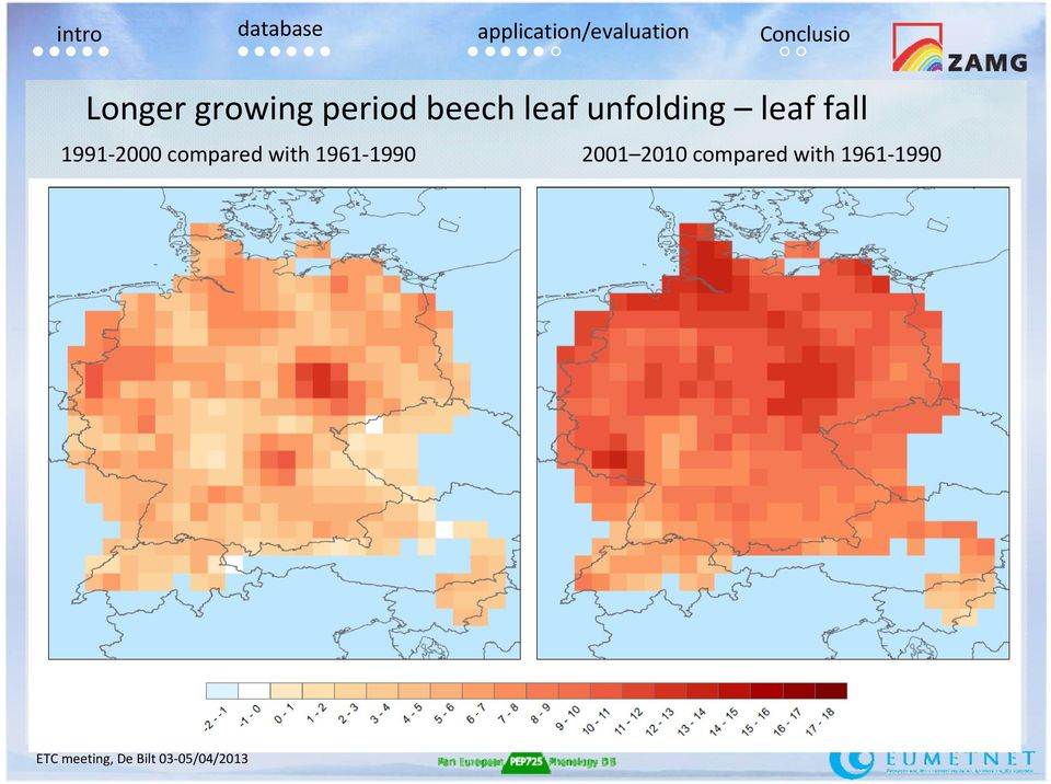 unfolding leaf fall 1991-2000 compared
