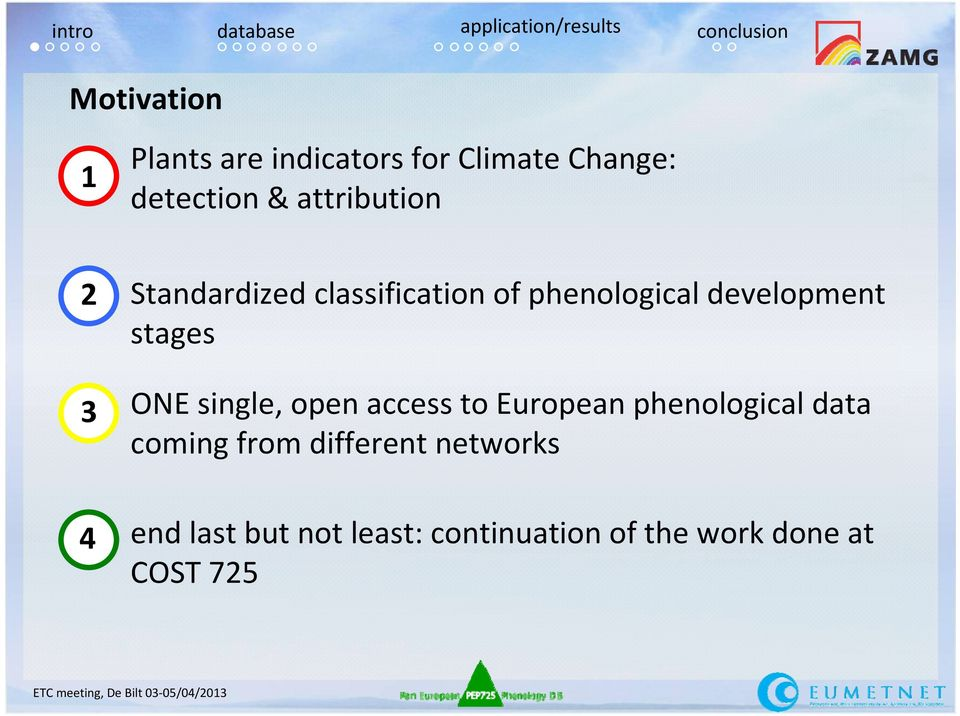 development stages ONE single, open access to European phenological data coming