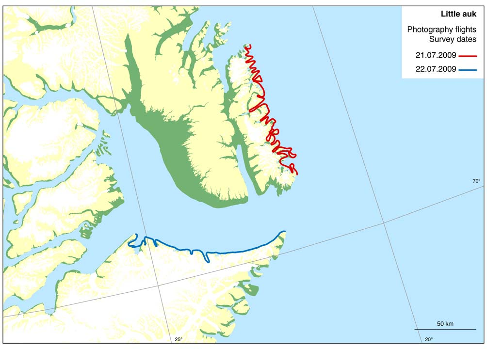 3.4 Little auk colony survey On 21 and 22 July the coasts of Liverpool Land and Volquart Boons Kyst were owerflown at an altitude of 7,000 feet (Figure 38).
