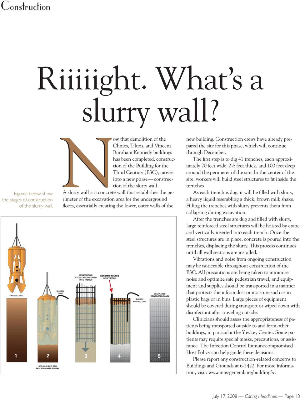 the slurry wall. A slurry wall is a concrete wall that establishes the perimeter of the excavation area for the underground floors, essentially creating the lower, outer walls of the new building.