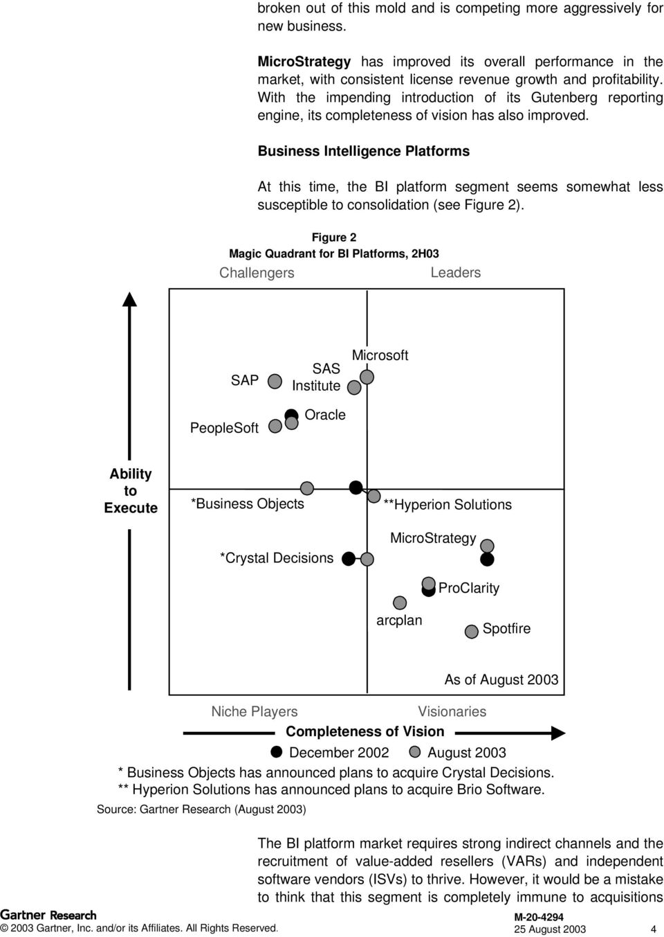 Business Intelligence Platforms At this time, the BI platform segment seems somewhat less susceptible to consolidation (see Figure 2).