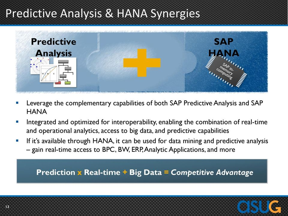analytics, access to big data, and predictive capabilities If it s available through HANA, it can be used for data mining and