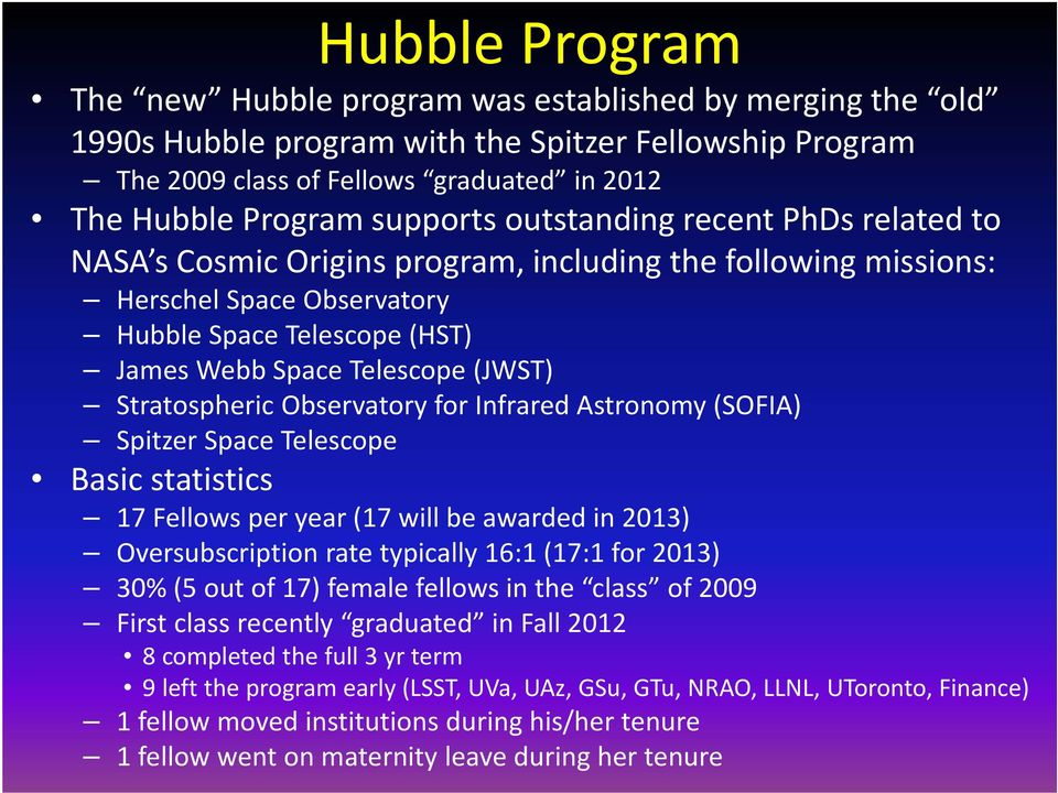 Stratospheric Observatory for Infrared Astronomy (SOFIA) Spitzer Space Telescope Basic statistics 17 Fellows per year (17 will be awarded in 2013) Oversubscription rate typically 16:1 (17:1 for 2013)