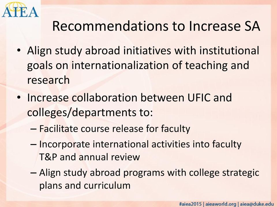colleges/departments to: Facilitate course release for faculty Incorporate international
