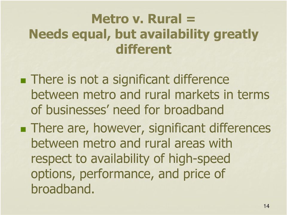 difference between metro and rural markets in terms of businesses need for broadband