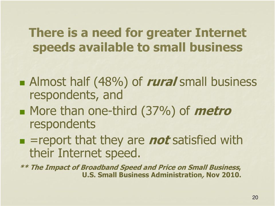 respondents =report that they are not satisfied with their Internet speed.