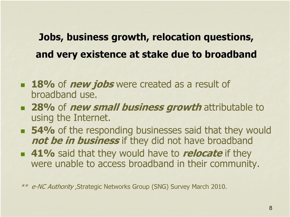 54% of the responding businesses said that they would not be in business if they did not have broadband 41% said that they