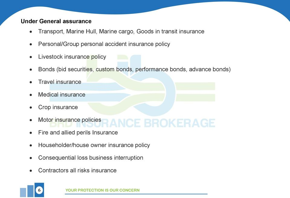 insurance Medical insurance Crop insurance Motor insurance policies Fire and allied perils Insurance Householder/house
